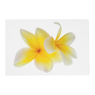 Plumeria Flowers Hawaiian White Yellow Frangipani Placemat