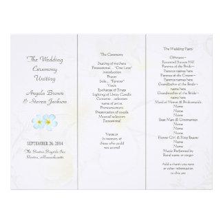 Plumeria Flowers Wedding Program Templates Letterhead