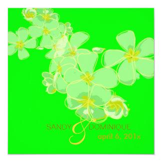 Plumeria Fluorescent Green Luau/Graduation/Wedding 5.25x5.25 Square Paper Invitation Card