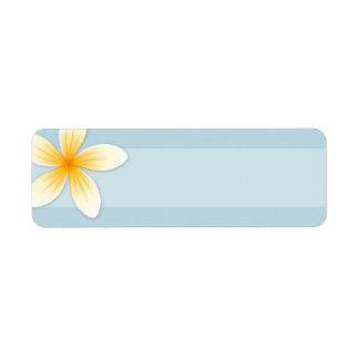 Plumeria Frangipani flower on pale sky blue blank Label