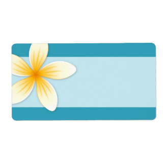 Plumeria Frangipani flower on teal blue blank Personalized Shipping Label