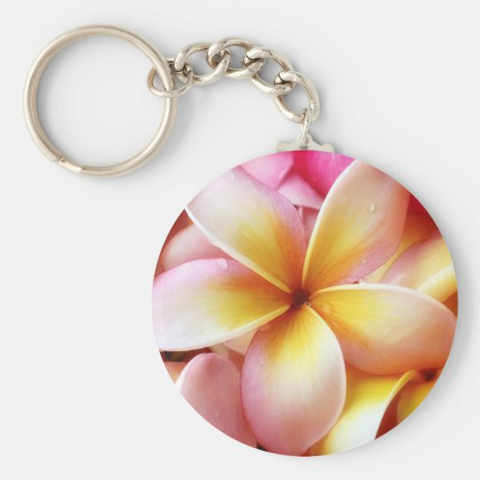 Plumeria Frangipani Hawaii Flower Customized Blank Keychain