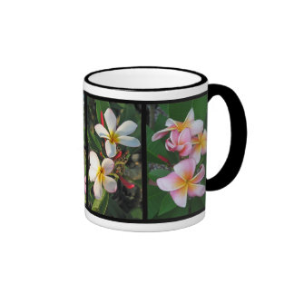 Plumeria Hawaiian Tropical Flowers on Collage Mug