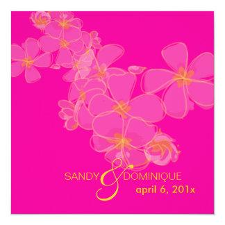 Plumeria / Hot Pink Luau/Graduation/Wedding 5.25x5.25 Square Paper Invitation Card