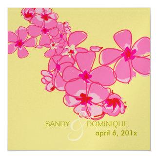 """Plumeria leis/DIY invitations 5.25"""" Square Invitation Card"""