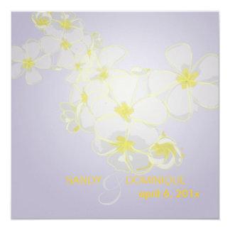 "Plumeria leis/lilac/DIY invitations 5.25"" Square Invitation Card"