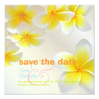 Plumeria leis/ Save the Date 5.25x5.25 Square Paper Invitation Card