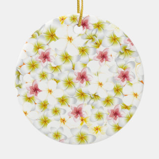 Plumeria Love Me Double-Sided Ceramic Round Christmas Ornament
