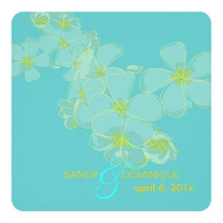 Plumeria on aqua blue 5.25x5.25 square paper invitation card