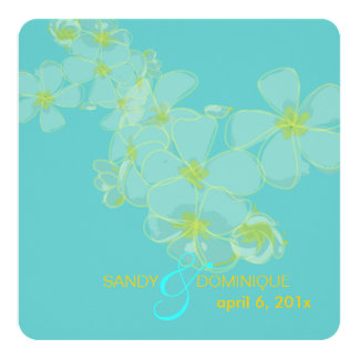 Plumeria on aqua blue invitations