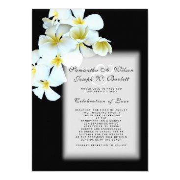 Beach Themed Plumeria on Black Hawaiian Wedding Invitation