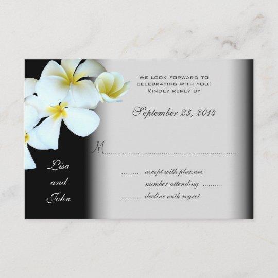 plumeria on black wedding invitation reply cards  zazzle