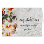 Plumeria Orchid Lei Congratulations All Occasion Card
