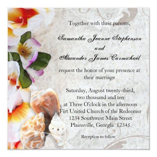 Plumeria Orchid Lei in Sand Beach Wedding Square Card