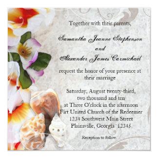 Plumeria Orchid Lei in Sand Beach Wedding Square Invites