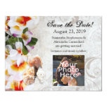 "Plumeria Orchid Lei in Sand Photo Save the Date 4.25"" X 5.5"" Invitation Card"