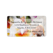 Plumeria Orchid Lei in the Sand Beach Labels