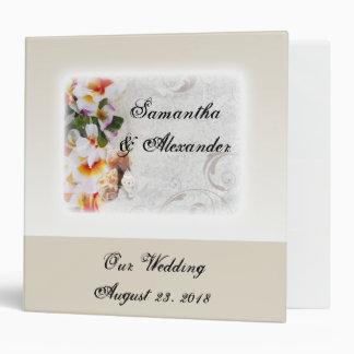 Plumeria Orchid Lei in the Sand Beach Wedding Vinyl Binders