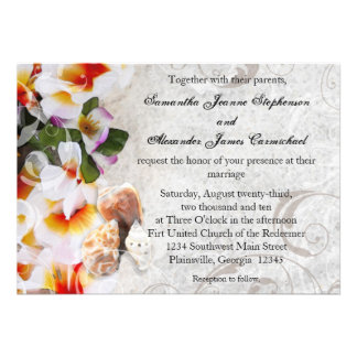 Plumeria Orchid Lei in the Sand Beach Wedding Invitations