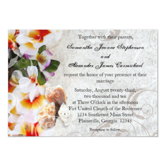 Plumeria Orchid Lei in the Sand Beach Wedding Invitations