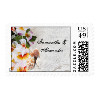 Plumeria Orchid Lei in the Sand Beach Wedding Postage