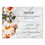 Plumeria Orchid Lei in the Sand RSVP Beach Wedding 4.25x5.5 Paper Invitation Card