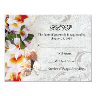 Plumeria Orchid Lei in the Sand RSVP Beach Wedding Card
