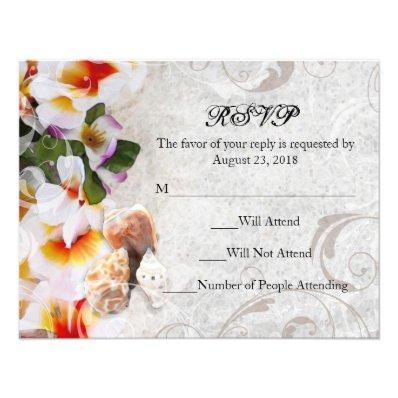 Plumeria Orchid Lei in the Sand RSVP Beach Wedding Announcement