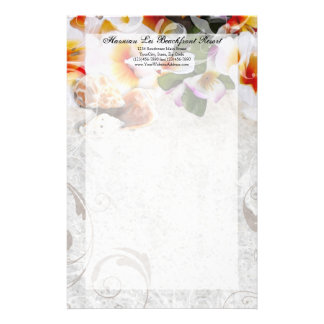 Plumeria Orchid Lei in the Sand Stationery