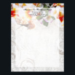 """Plumeria Orchid Lei / Sand Beach Letterhead<br><div class=""""desc"""">Use this letterhead for your travel agency, beach wedding planning business or personal wedding letterhead. Wedding Invitation Set featuring a lovely image of a tropical lei with Plumeria and Orchid flowers, lying in the sand with three sea shells. Unique and colorful invitation for a beach, ocean, cruise, hawaii or tropical...</div>"""