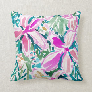 PLUMERIA PARADISE Tropical Floral Watercolor Throw Pillow