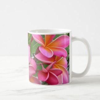 Plumeria rosado taza básica blanca