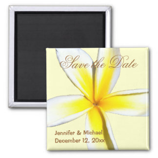 Plumeria Save the Date 2 Inch Square Magnet