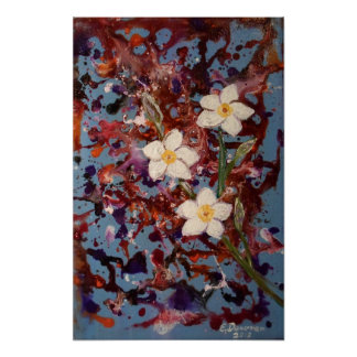 Plumeria Splash Abstract Poster
