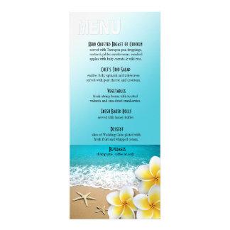 Plumeria Starfish Beach Dinner Menu Personalized Invite