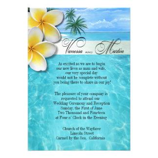 Plumeria Starfish Beach Hawaiian Wedding Personalized Announcements