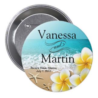 Plumeria Starfish Beach Tropical Hawaii Button