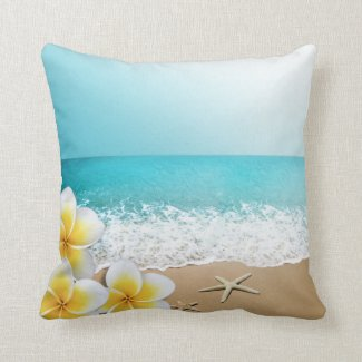 Plumeria Starfish Beach Tropical Hawaii Throw Pillow
