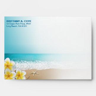 Plumeria Starfish Beach Tropical Hawaiian Envelope