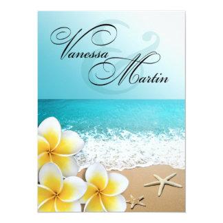 Plumeria Starfish Beach Tropical Wedding Card