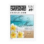 Plumeria Starfish Beach Tropical Wedding Hawaii Stamps
