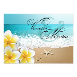 Plumeria Starfish Beach Tropical Wedding Personalized Invites