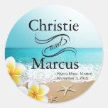 Plumeria Starfish Hawaii Beach Round Stickers