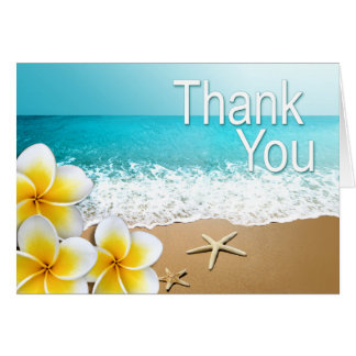 Plumeria Starfish Hawaii Beach Thank You Card