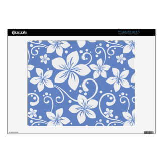 "Plumeria Swirl Blue 2 Decal For 14"" Laptop"
