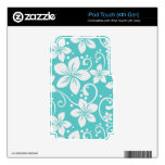 Plumeria Swirl Cyan 2 Decal For iPod Touch 4G