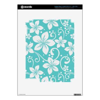 Plumeria Swirl Cyan 2 Skin For iPad 3