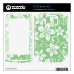Plumeria Swirl Green Decal For HTC Touch HD