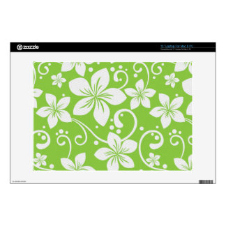 "Plumeria Swirl Lime Decals For 13"" Laptops"