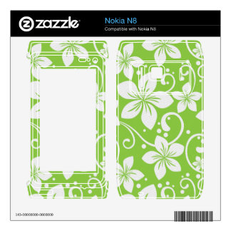 Plumeria Swirl Lime Decal For The Nokia N8